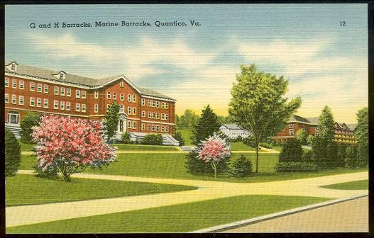 Postcard of Marine G and H Barracks Quantico Virginia