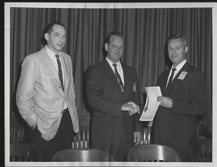 Original Photograph of Presentation with Three Men, Marshall Space Flight Center