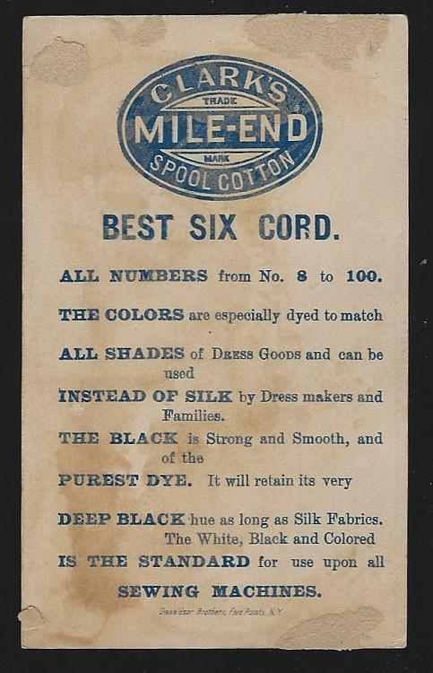 Victorian Trade Card for Clark's Mile End Spool Cotton with Boy Pulling a Prank