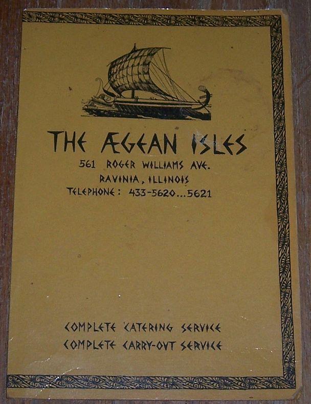 Vintage Menu from Agean Isles, 561 Roger Williams Avenue, Ravinia, Illinois