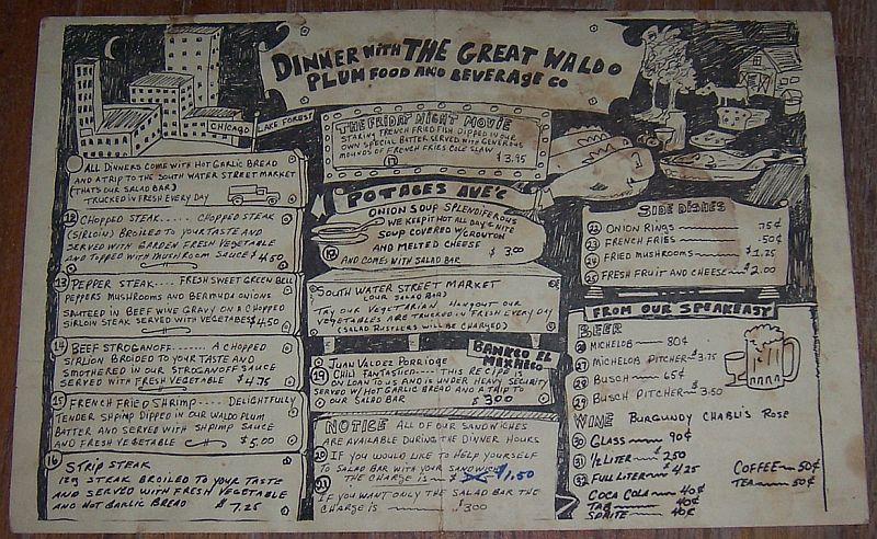 Vintage Menu from Great Waldo Plum, 770 Western, Lake Forest, Illinois