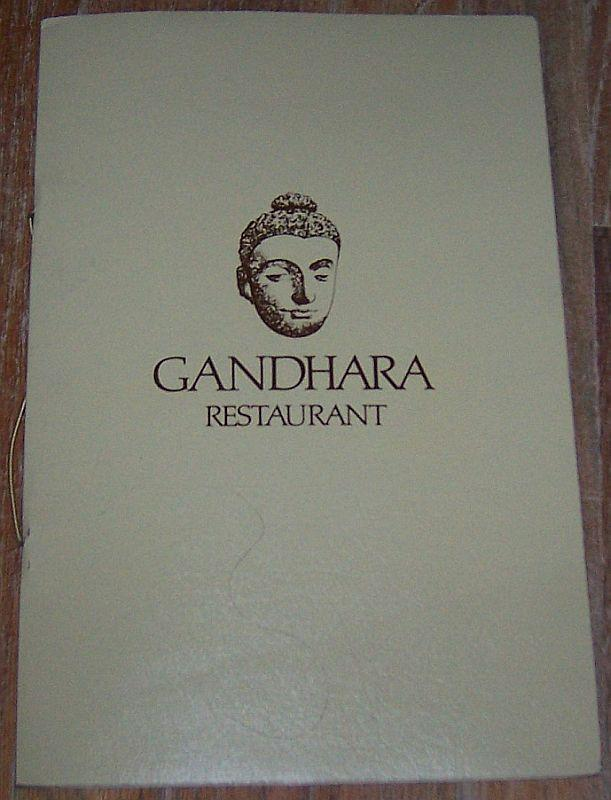 Vintage Menu from Gandhara Restaurant, 720 N. Rush St., Chicago, Illinois