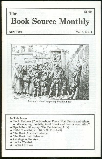 Book Source Monthly Magazine April 1989 Book Reviews, V. S. Pritchett Checklist
