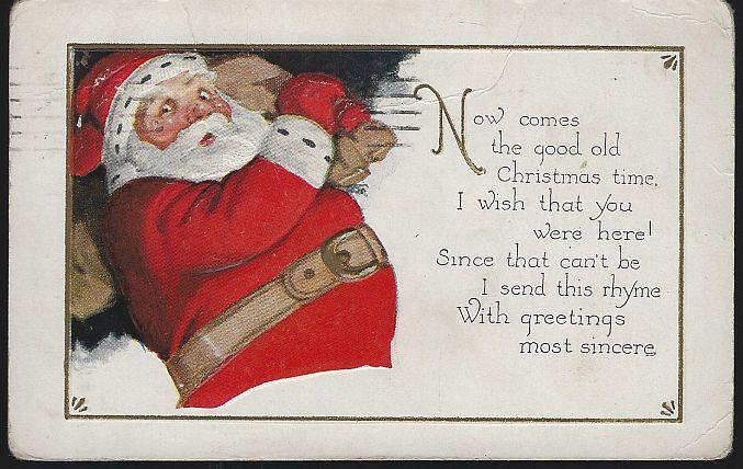 Vintage Christmas Postcard with Santa Claus 1927 Good Old Christmas Time