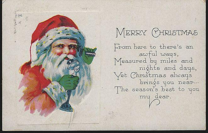 Vintage Merry Christmas Postcard with Santa Claus Talking on Telephone