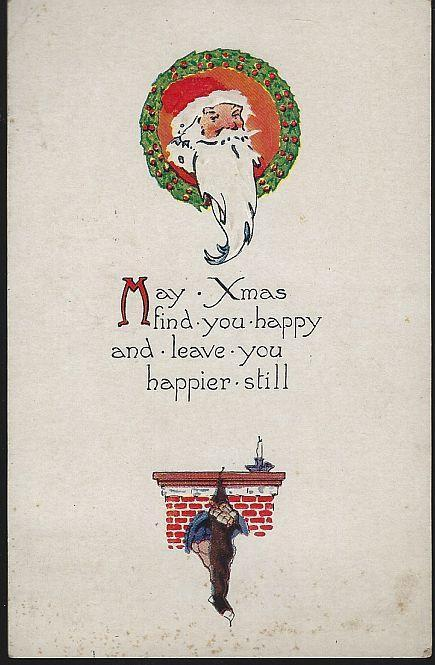 Vintage Christmas Postcard with Santa Claus and Fireplace 1922