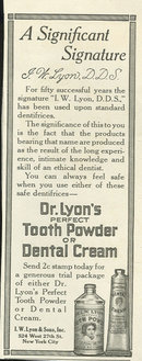 Dr. Lyon's Tooth Powder or Cream 1916 Advertisement