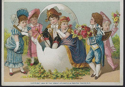 Victorian Trade Card Great Atlantic and Pacific Tea Company Boy and Girl in Egg
