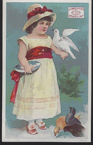 Victorian Trade Card Pearline Washing Compound with Little Girl Feeding Birds
