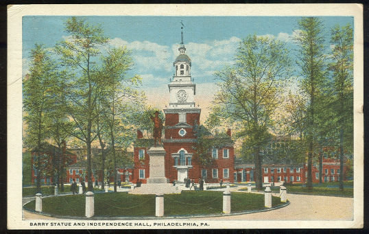 Postcard of Barry Statue and Independence Hall, Philadelphia, Pennsylvania