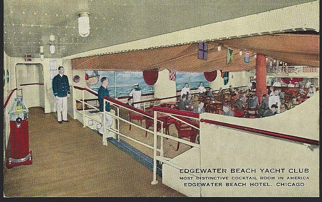 Unused Postcard of Edgewater Beach Yacht Club, Edgewater Beach Hotel, Chicago
