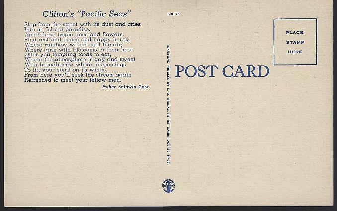 Unused Postcard of Clinton's Pacific Seas, 618 S. Olive Los Angeles, California