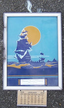 New World Silhouette Deco Sample Framed 1939 Calendar