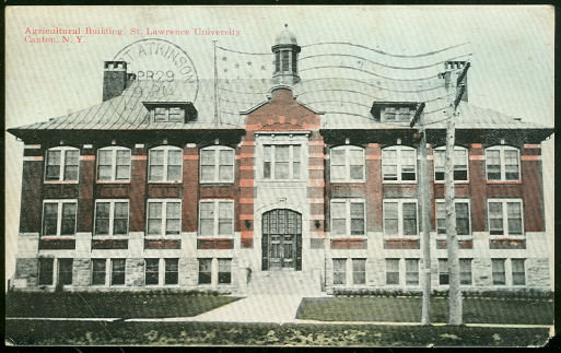 Postcard of The Agricultural Building, St. Lawrence University, Canton, New York