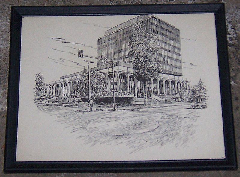 Vintage Framed Print of Madison County Courthouse, Huntsville, Alabama