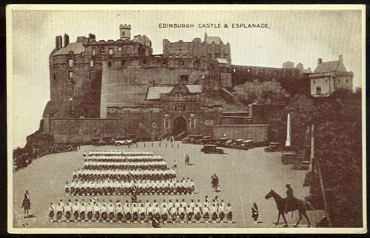 Postcard of Edinburgh Castle and Esplanade, Scotland