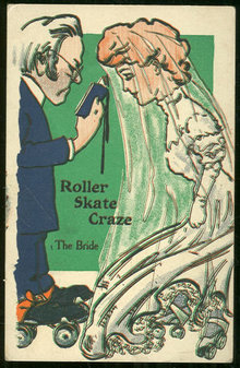 Comic Postcard of The Roller Skate Craze, The Bride
