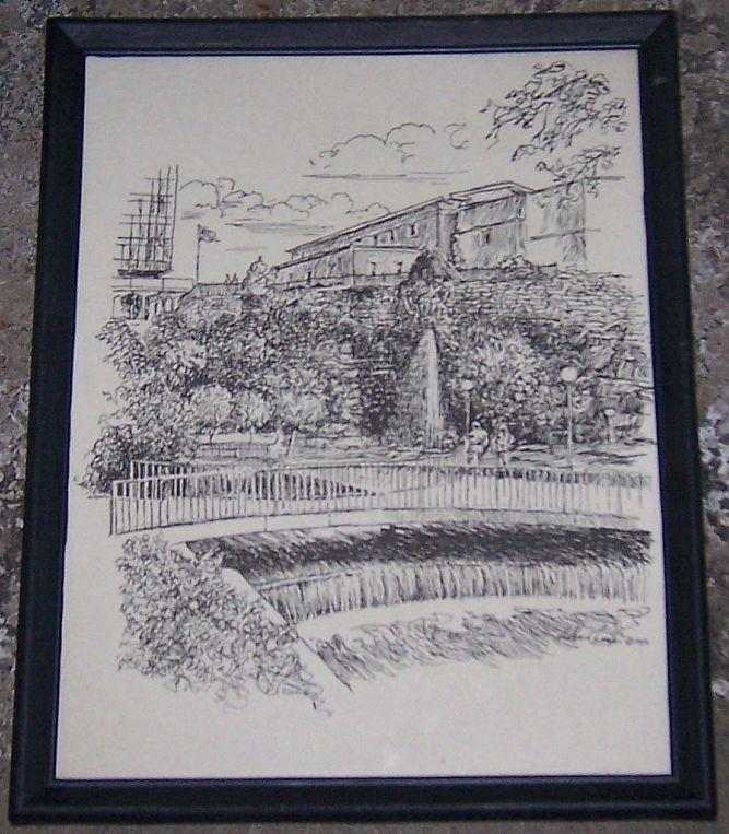 Vintage Framed Black and White Print of Big Spring Park, Huntsville, Alabama
