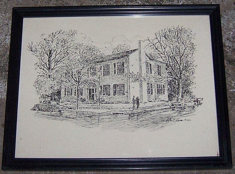 Vintage Framed Black and White Print of Howard Weeden House Huntsville, Alabama