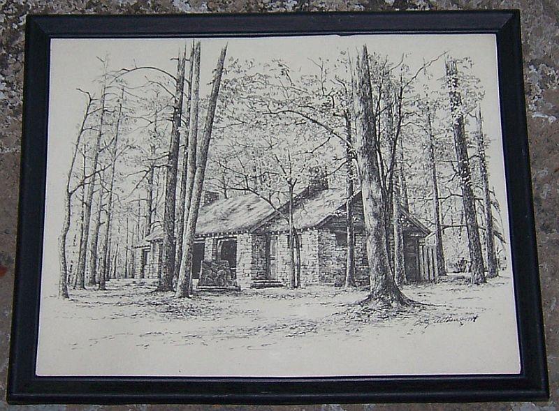 Vintage Framed Black and White Print of Monte Sano State Park Huntsville Alabama