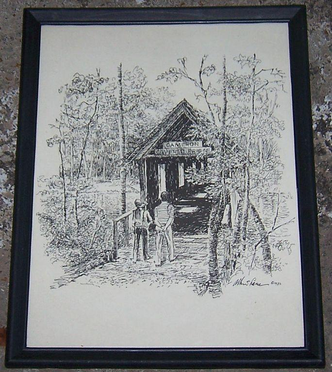 Vintage Framed Print Cameron Covered Bridge Green Mountain Huntsville, Alabama