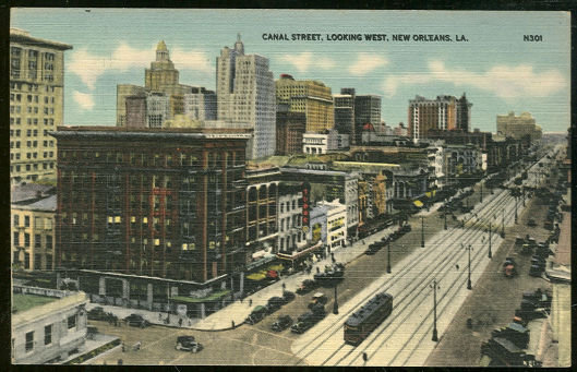 Postcard of Canal Street, Looking West, New Orleans, Louisiana