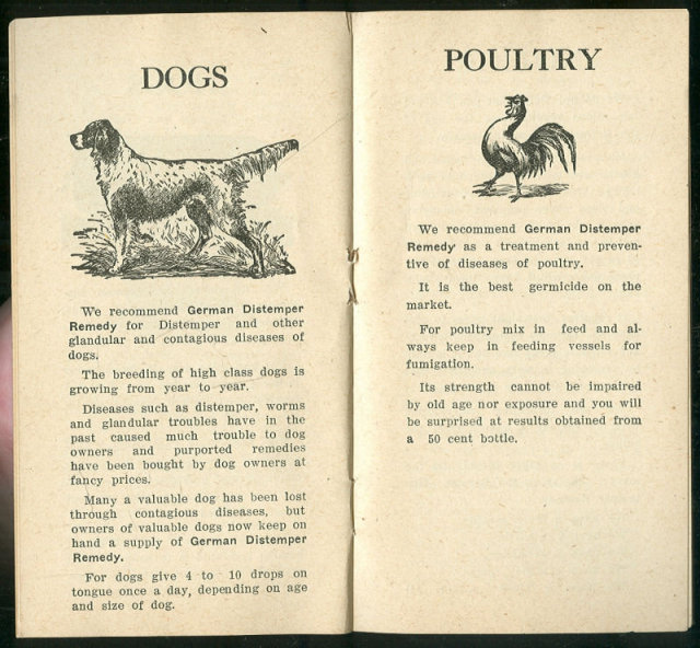 Booklet for German Distemper Remedy for Livestock 1906