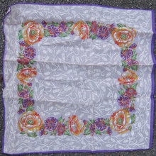 Vintage Orange and Purple Floral Printed Handkerchief