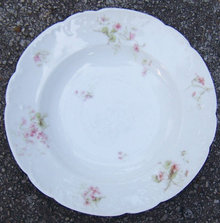 Haviland Limoges China Flat Soup Bowl w/ Pink Flowers