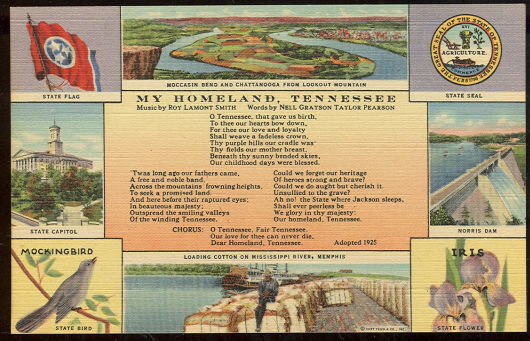 Postcard of My Homeland Tennessee Song and State Views