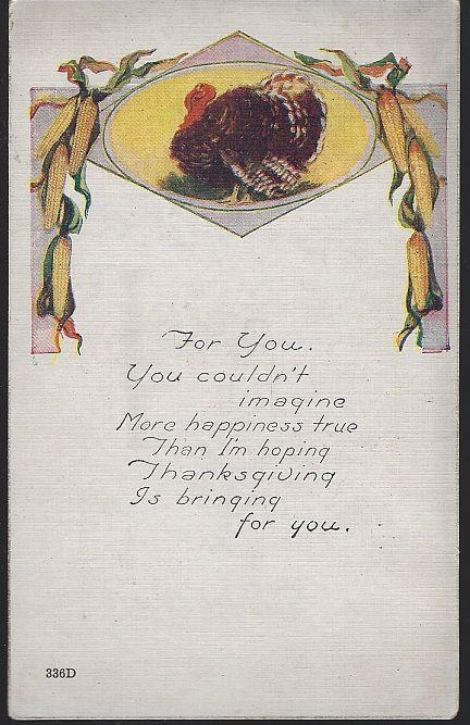 Vintage Thanksgiving Postcard with Turkey Surrounded by Corn with Poem 1921