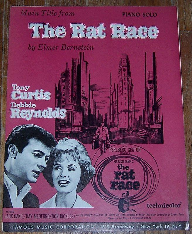 Rat Race Piano Solo Starring Tony Curtis and Debbie Reynolds 1960 Sheet Music