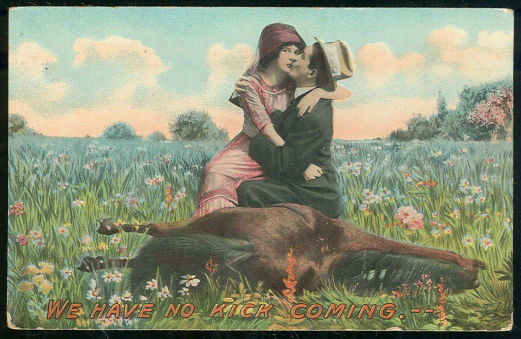 Postcard of Couple on Horse Who Have No Kick Coming