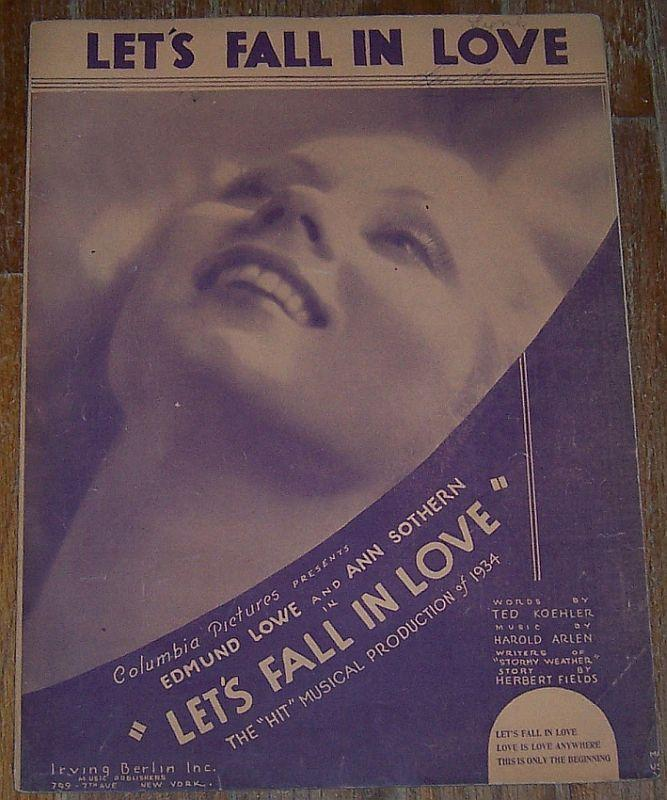 Let's Fall in Love From Movie Starring Edmund Lowe Ann Sothern 1933 Sheet Music