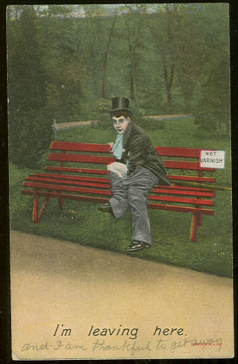 Comic Postcard of Man on Park Bench Taking Pants Off