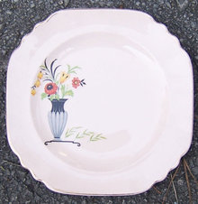 Shell Pink Square Salad Plate with Deco Vase & Flowers