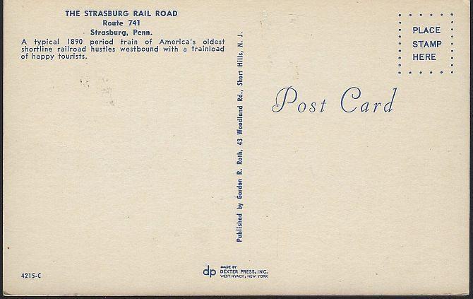 Vintage Unused Postcard of Strasburg Rail Road Shortline Strasburg, Pennsylvania