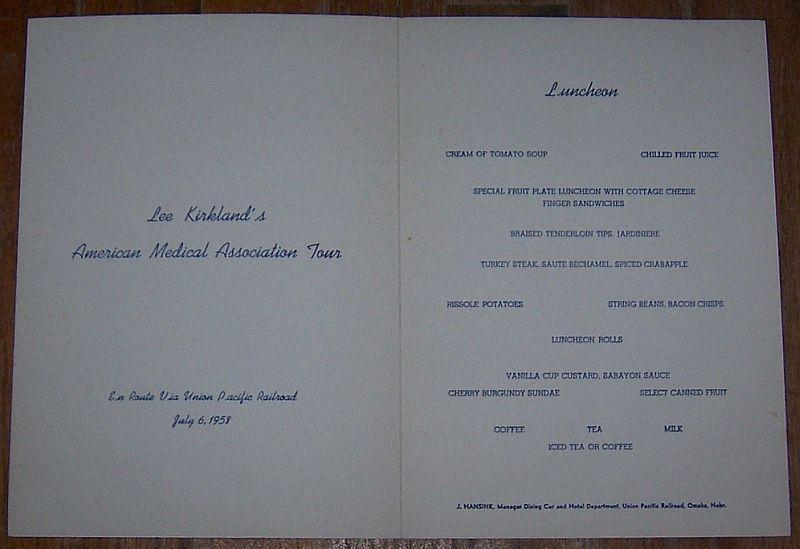 Union Pacific Luncheon Menu, July 6, 1958 with  Old Faithful Geyser Yellowstone
