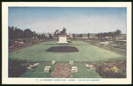 Postcard of Le Monument Jeanee D'Arc, Quebec, Canada