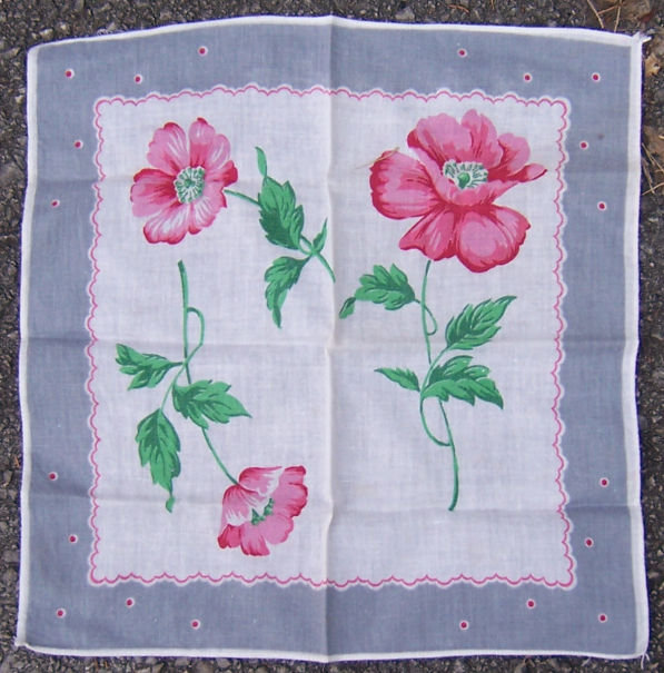 Vintage Red Poppies Floral Printed Handkerchief
