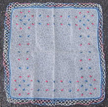 Small Floral Embroidered Handkerchief with Crochet Edge