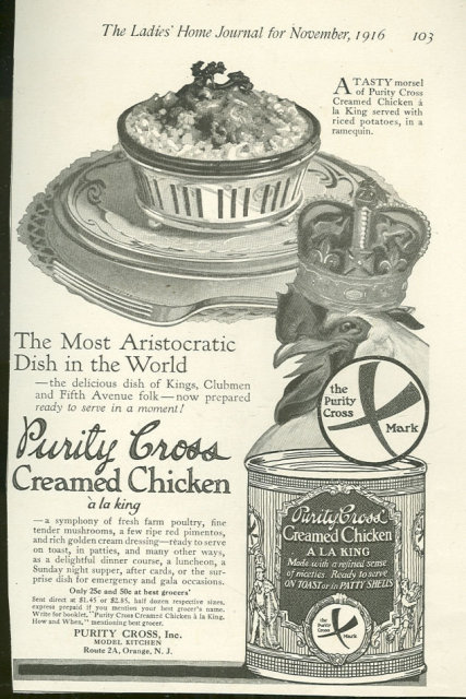 Purity Cross Canned Creamed Chicken 1916 Advertisement