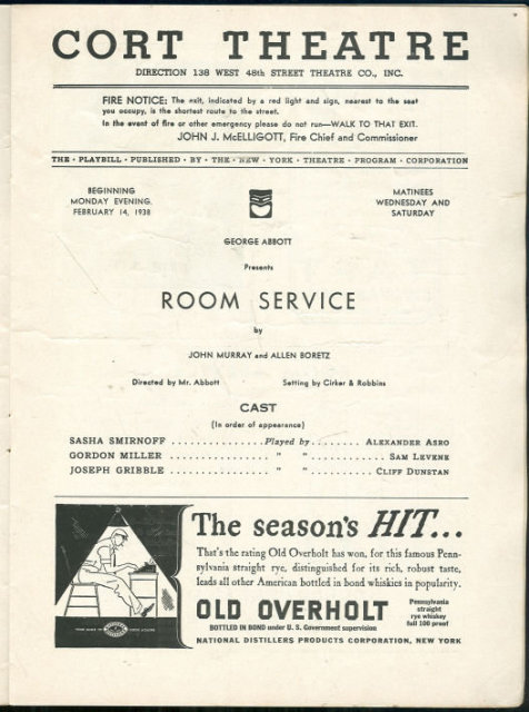 Playbill George Abbott Presents Room Service February 1938