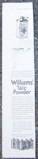 Williams' Talc Powder For Heat and Sunburn 1916 Ad