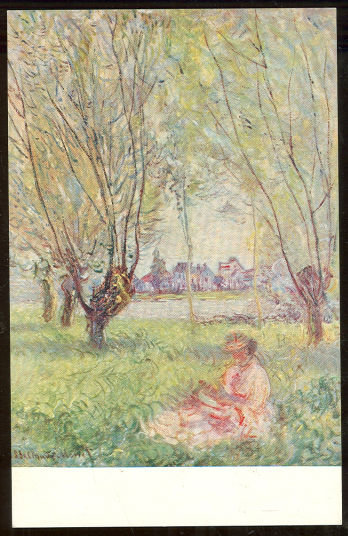 Postcard of Woman Seated Under The Willows by Monet