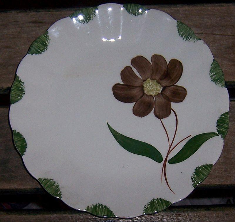 Blue Ridge Pottery Colonial Shape Amanda Pattern Small Plate Brown Flower
