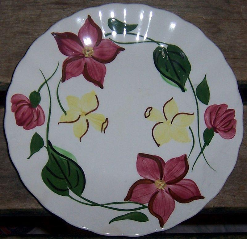 Blue Ridge Pottery Colonial Shape Joanna Small Plate Red and Yellow Flowers