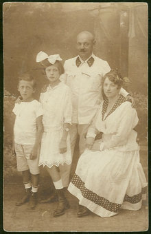 Real Photo Postcard of Family Portrait Dressed in White