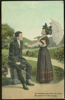 Postcard of Courting Couple, Lovely Lady with Rose