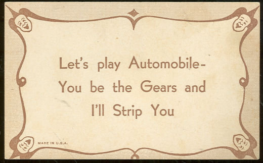 Comic Motto Card Let's Play Automobile, I'll Strip You